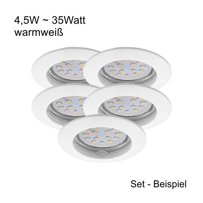 Led Einbaustrahler Set Kanlux Mr16 Gu5 3 12v 4 5watt Warmweiss Aquivalent 35w Halogen