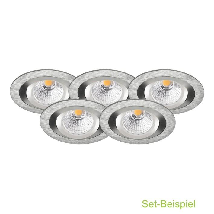 LED KOMPLETT-SETs Einbaustrahler 7 Watt GU10 230V COB-LED Warmweißes ...
