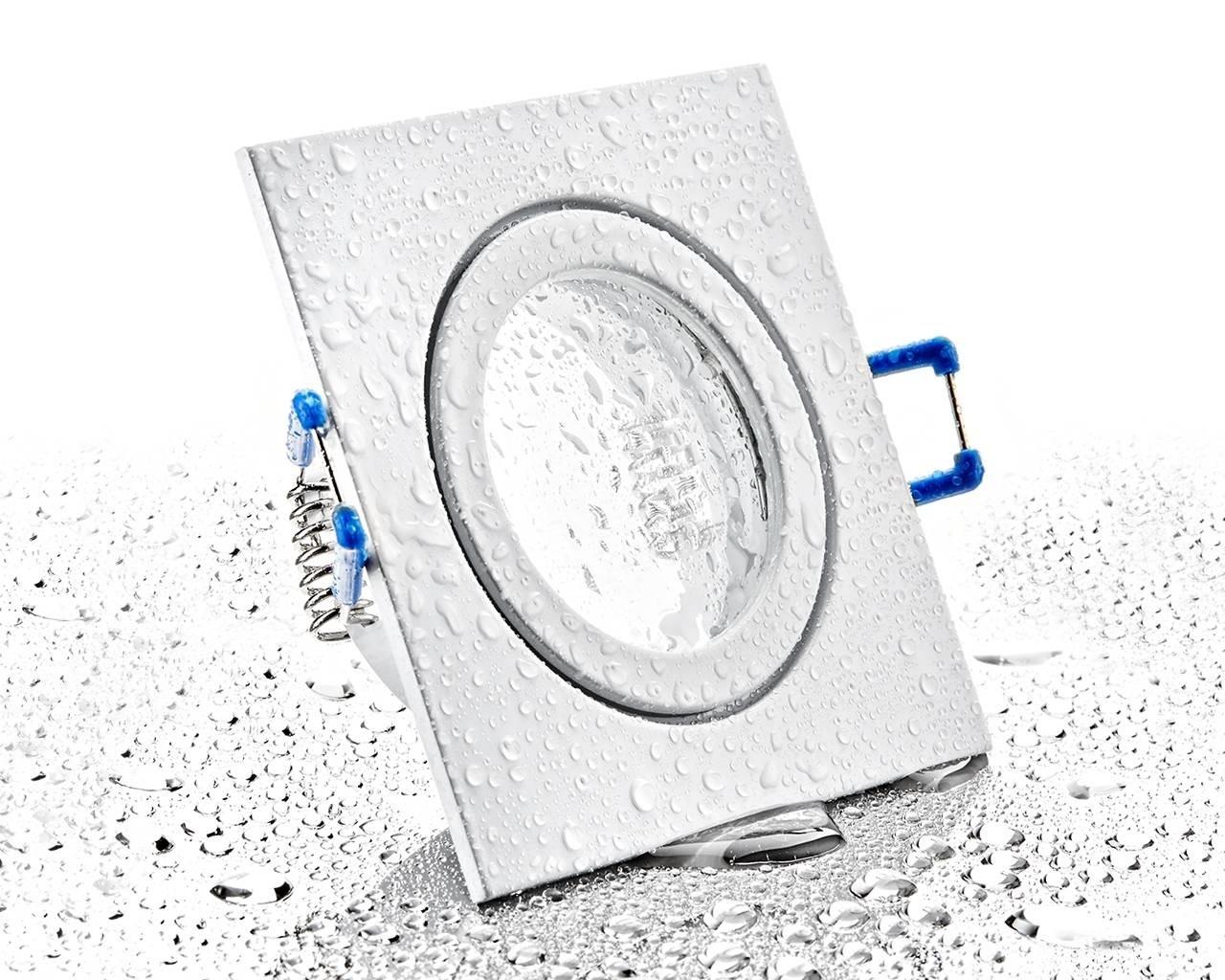 LC-Light Druckguss Einbaustrahler viereckig Weiß Matt IP44 MR11