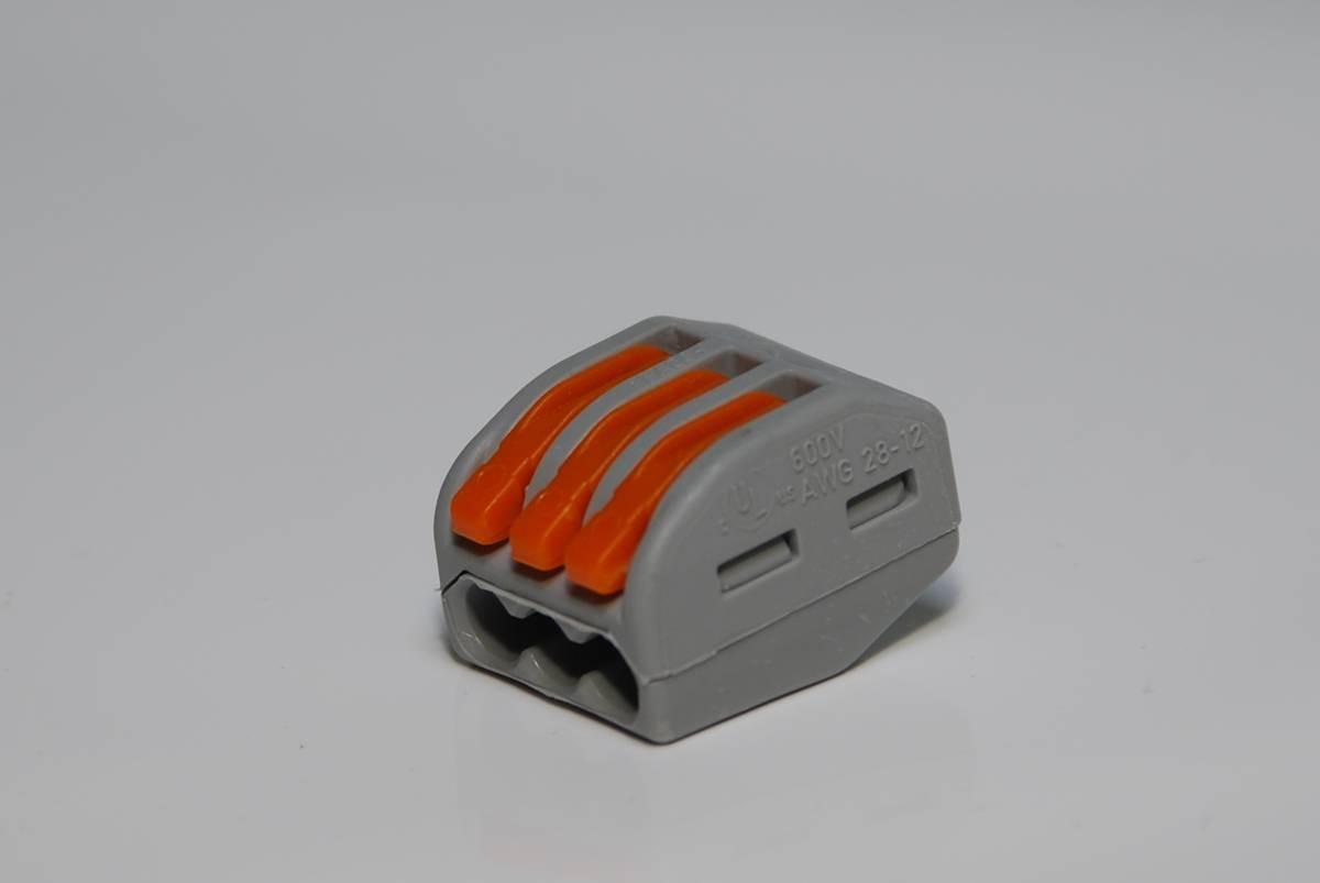 WAGO Verbindungsklemme 3fach mit Betätigungshebel