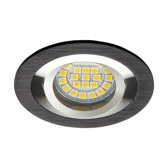 1_Kanlux 18288 Einbaustrahler GU10 / MR16, Einbaurahmen, -Leuchte, rund, alu schwarz